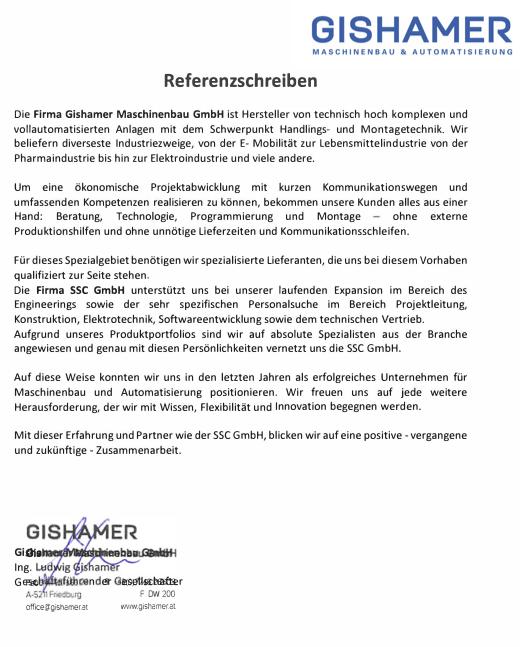 Referenzschreiben JobAktuell an SP & Partner
